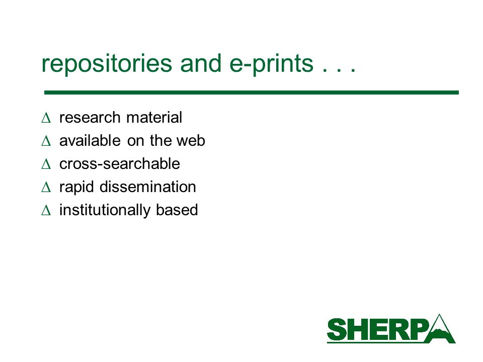 repositories and e-prints...