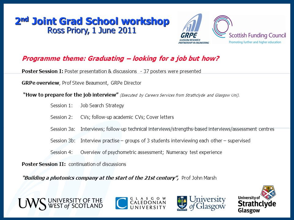2 nd Joint Grad School workshop Ross Priory, 1 June 2011 Programme theme: Graduating – looking for a job but how.
