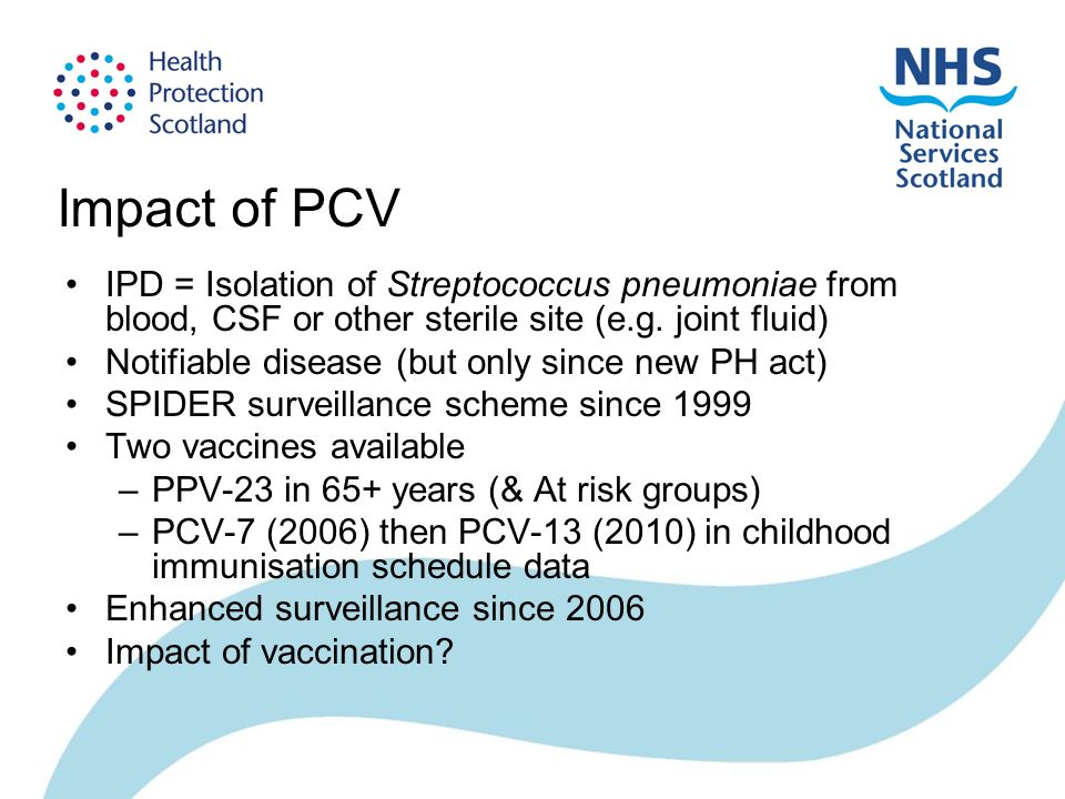 Impact of PCV IPD = Isolation of Streptococcus pneumoniae from blood, CSF or other sterile site (e.g.