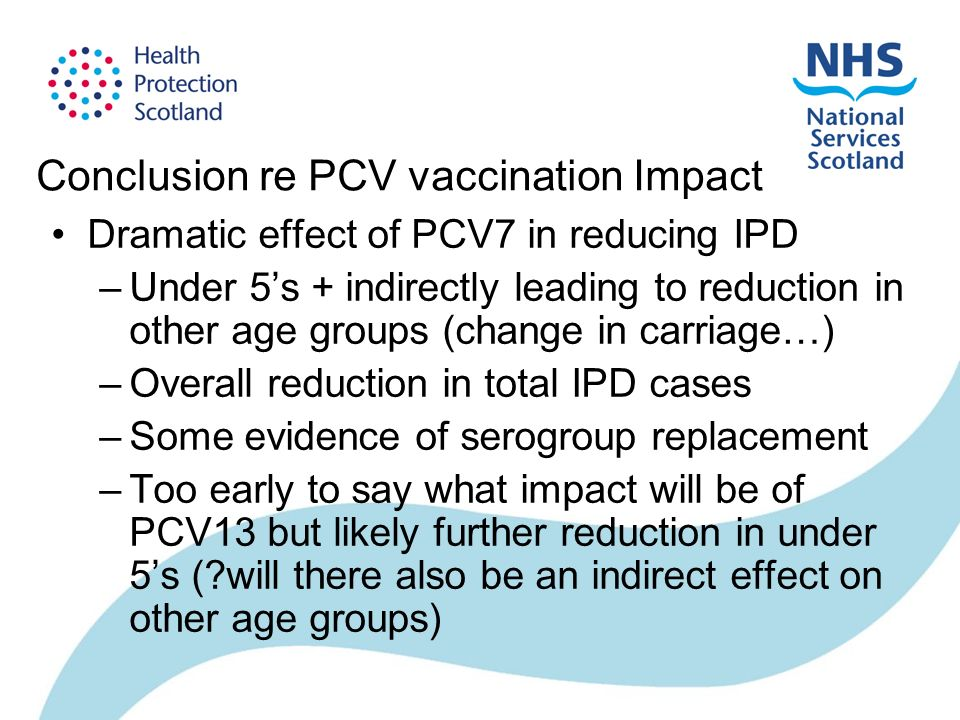 Conclusion re PCV vaccination Impact Dramatic effect of PCV7 in reducing IPD –Under 5s + indirectly leading to reduction in other age groups (change in carriage…) –Overall reduction in total IPD cases –Some evidence of serogroup replacement –Too early to say what impact will be of PCV13 but likely further reduction in under 5s ( will there also be an indirect effect on other age groups)