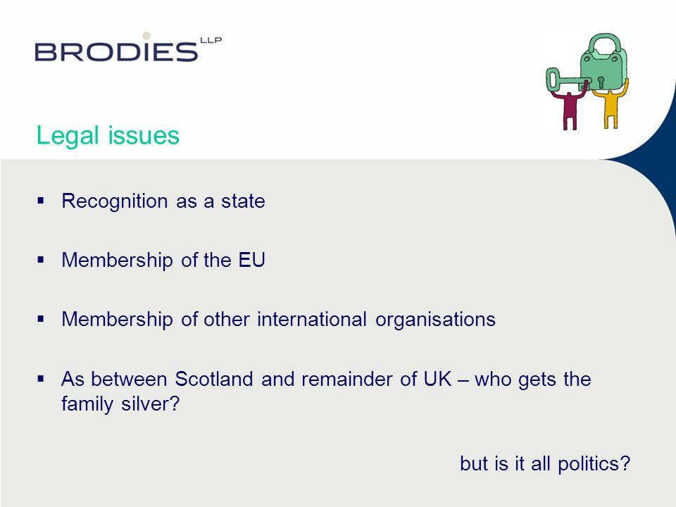Legal issues Recognition as a state Membership of the EU Membership of other international organisations As between Scotland and remainder of UK – who gets the family silver.