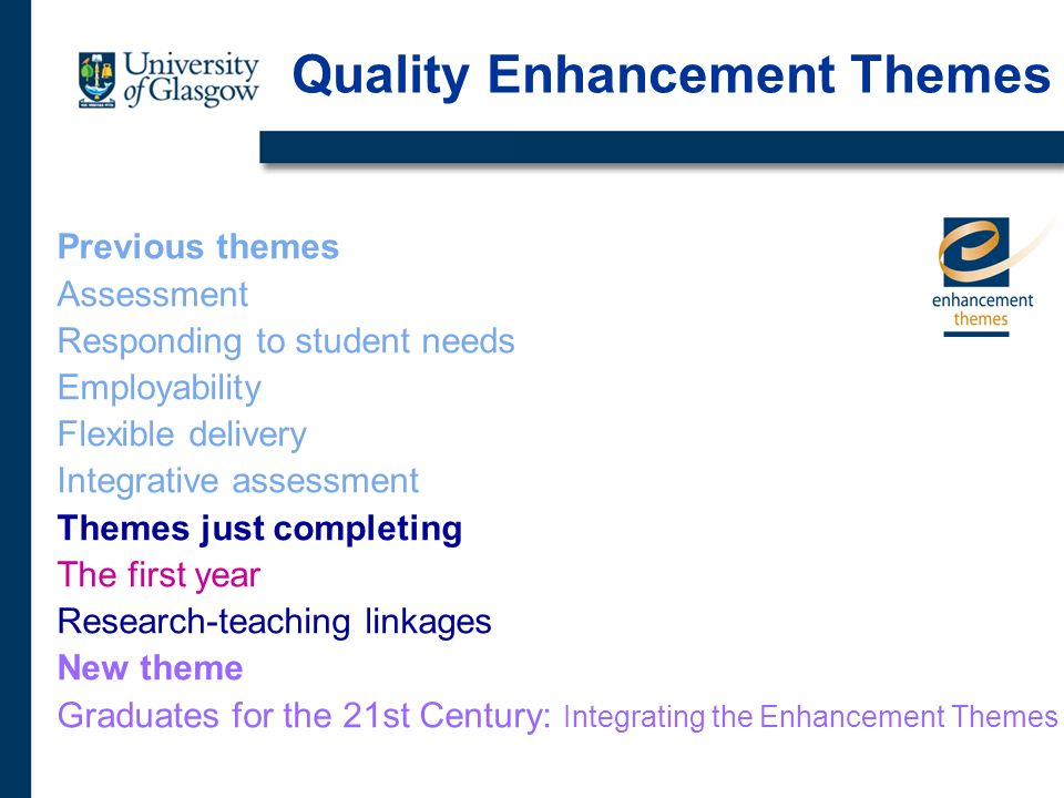 Previous themes Assessment Responding to student needs Employability Flexible delivery Integrative assessment Themes just completing The first year Research-teaching linkages New theme Graduates for the 21st Century: Integrating the Enhancement Themes Quality Enhancement Themes