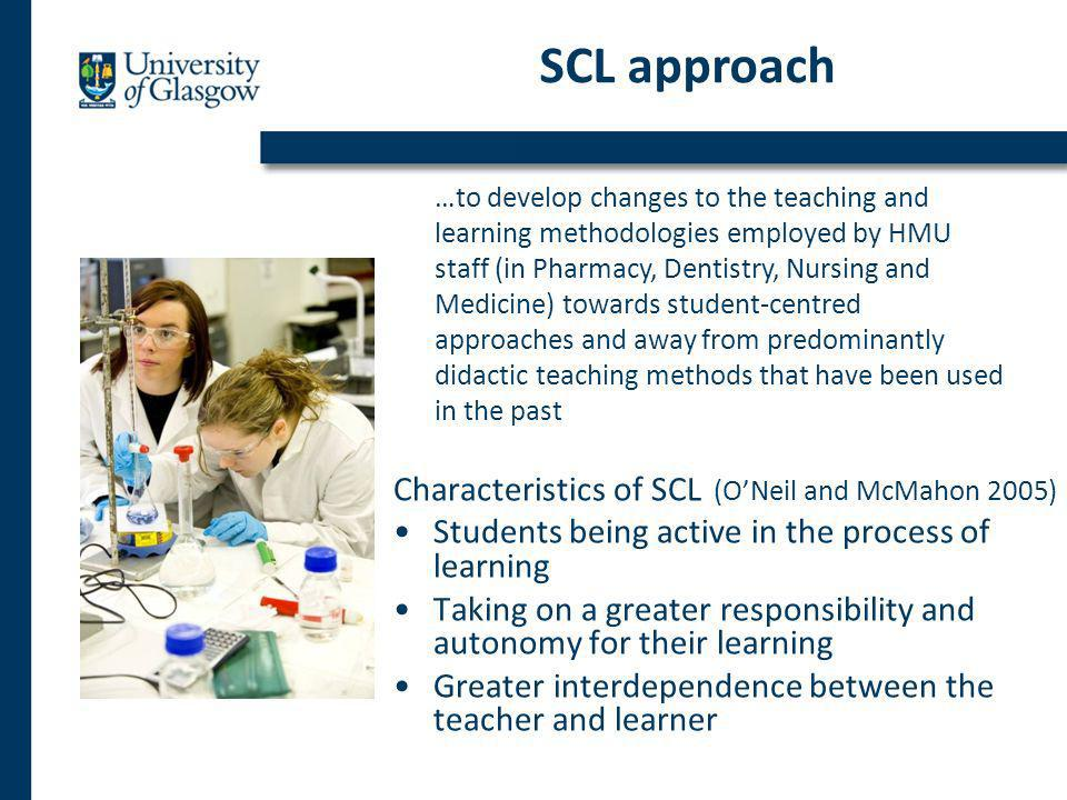 Characteristics of SCL (ONeil and McMahon 2005) Students being active in the process of learning Taking on a greater responsibility and autonomy for their learning Greater interdependence between the teacher and learner SCL approach …to develop changes to the teaching and learning methodologies employed by HMU staff (in Pharmacy, Dentistry, Nursing and Medicine) towards student-centred approaches and away from predominantly didactic teaching methods that have been used in the past