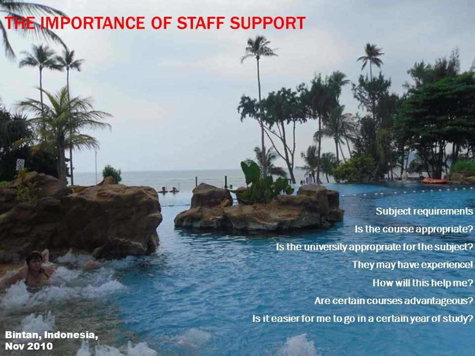 THE IMPORTANCE OF STAFF SUPPORT Subject requirements Is the course appropriate.
