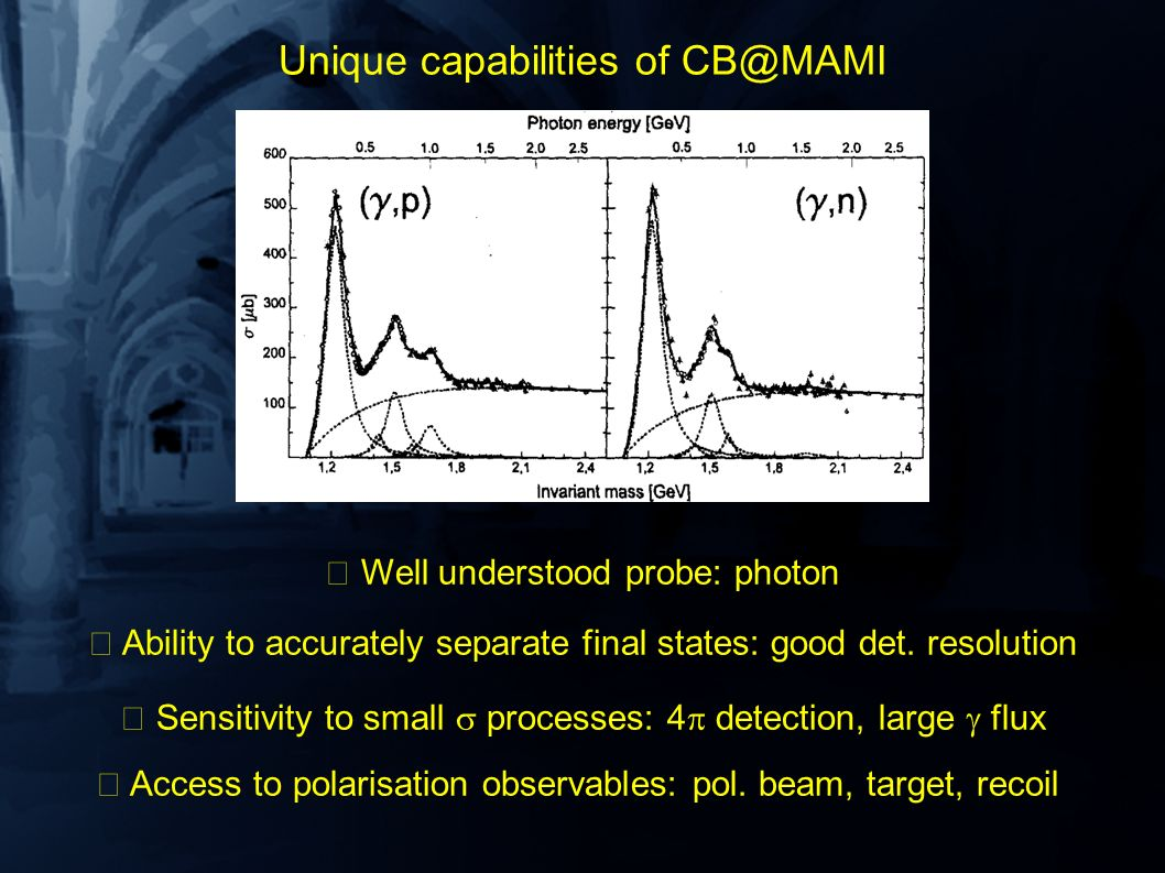 Unique capabilities of CB@MAMI Well understood probe: photon Ability to accurately separate final states: good det.