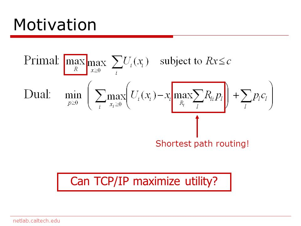 netlab.caltech.edu Motivation Can TCP/IP maximize utility Shortest path routing!