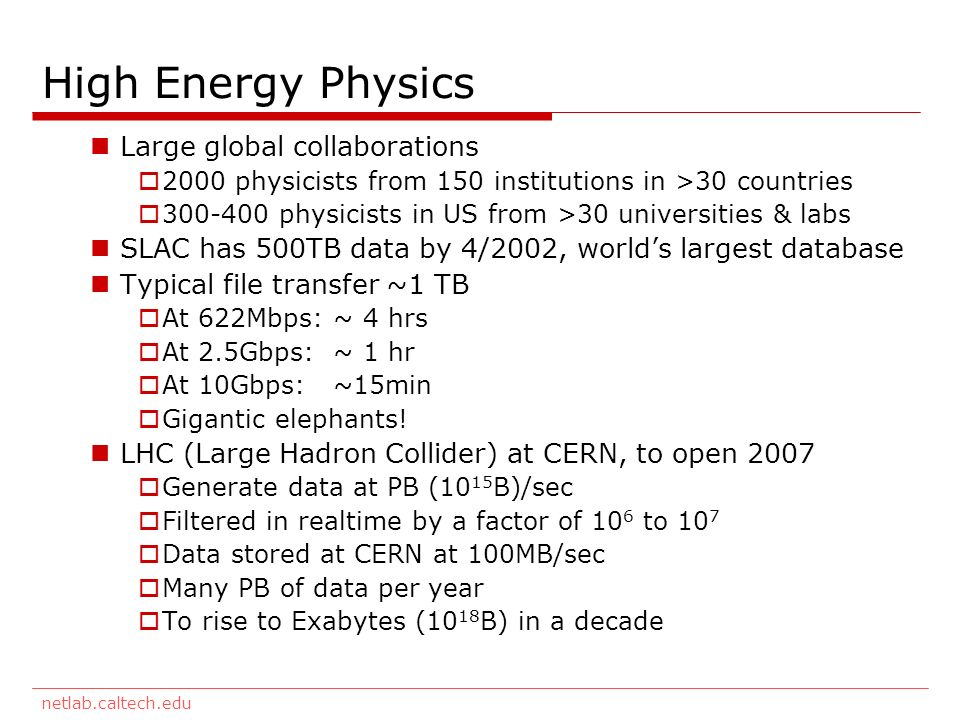 netlab.caltech.edu High Energy Physics Large global collaborations 2000 physicists from 150 institutions in >30 countries 300-400 physicists in US from >30 universities & labs SLAC has 500TB data by 4/2002, worlds largest database Typical file transfer ~1 TB At 622Mbps: ~ 4 hrs At 2.5Gbps: ~ 1 hr At 10Gbps: ~15min Gigantic elephants.