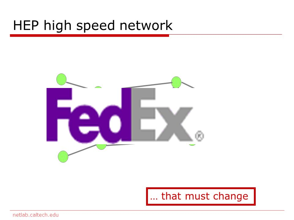 netlab.caltech.edu HEP high speed network … that must change