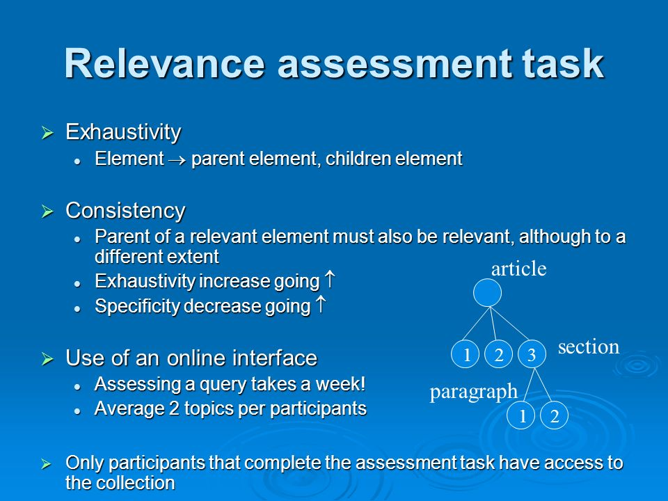 Relevance assessment task Exhaustivity Exhaustivity Element parent element, children element Element parent element, children element Consistency Consistency Parent of a relevant element must also be relevant, although to a different extent Parent of a relevant element must also be relevant, although to a different extent Exhaustivity increase going Exhaustivity increase going Specificity decrease going Specificity decrease going Use of an online interface Use of an online interface Assessing a query takes a week.