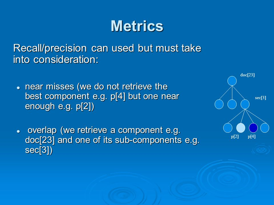 Metrics Recall/precision can used but must take into consideration: near misses (we do not retrieve the best component e.g.