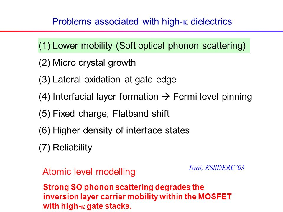 Problems associated with high- dielectrics (1)Lower mobility (Soft optical phonon scattering) (2)Micro crystal growth (3)Lateral oxidation at gate edge (4)Interfacial layer formation Fermi level pinning (5)Fixed charge, Flatband shift (6)Higher density of interface states (7)Reliability Iwai, ESSDERC03 Atomic level modelling Strong SO phonon scattering degrades the inversion layer carrier mobility within the MOSFET with high- gate stacks.