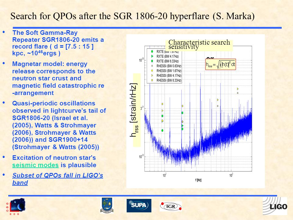 The Soft Gamma-Ray Repeater SGR1806-20 emits a record flare ( d = [7.5 : 15 ] kpc, ~10 46 ergs ) Magnetar model: energy release corresponds to the neutron star crust and magnetic field catastrophic re -arrangement Quasi-periodic oscillations observed in lightcurve s tail of SGR1806-20 (Israel et al.