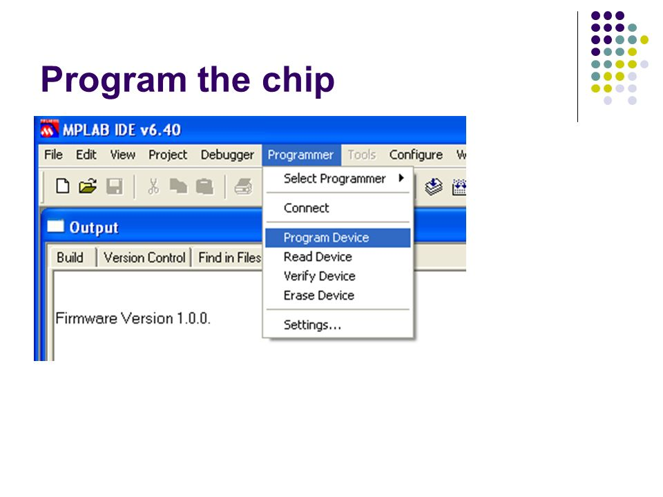 Program the chip