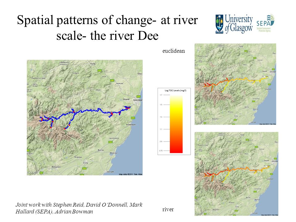 Spatial patterns of change- at river scale- the river Dee Joint work with Stephen Reid, David ODonnell, Mark Hallard (SEPA), Adrian Bowman euclidean river