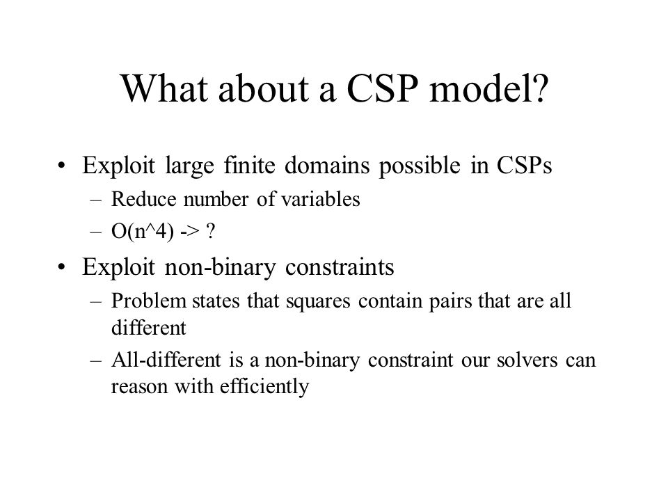 What about a CSP model.