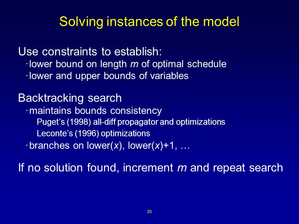 25 Solving instances of the model Use constraints to establish: ·lower bound on length m of optimal schedule ·lower and upper bounds of variables Backtracking search ·maintains bounds consistency Pugets (1998) all-diff propagator and optimizations Lecontes (1996) optimizations ·branches on lower(x), lower(x)+1, … If no solution found, increment m and repeat search