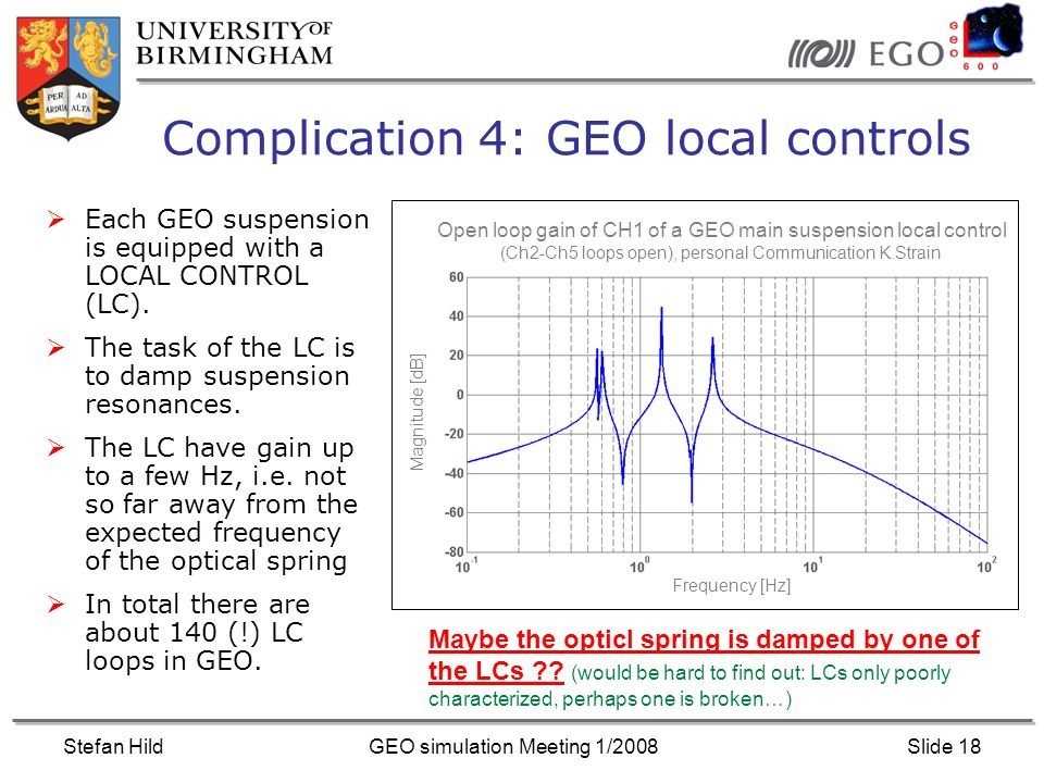 Stefan HildGEO simulation Meeting 1/2008Slide 18 Complication 4: GEO local controls Each GEO suspension is equipped with a LOCAL CONTROL (LC).