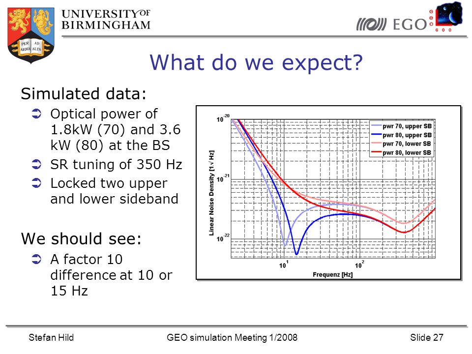 Stefan HildGEO simulation Meeting 1/2008Slide 27 What do we expect.