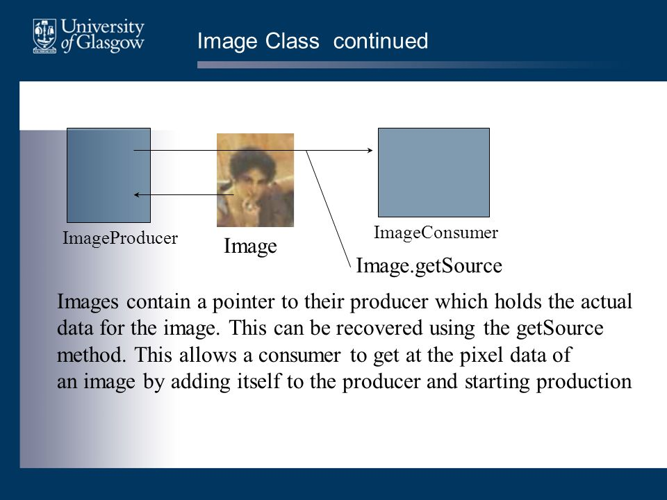 Image Class continued Image ImageProducer ImageConsumer Images contain a pointer to their producer which holds the actual data for the image.