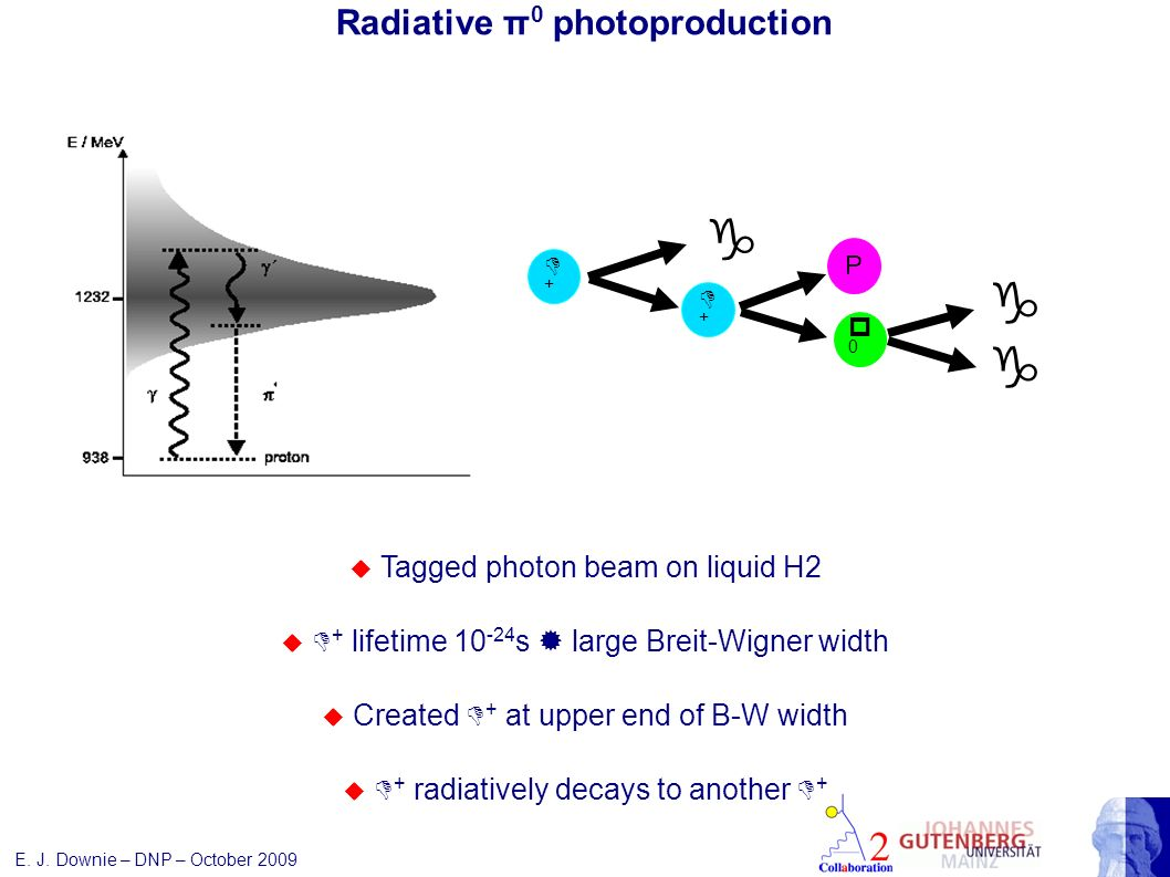 Radiative π 0 photoproduction g D+D+ D+D+ P p0p0 g Tagged photon beam on liquid H2 D + lifetime 10 -24 s large Breit-Wigner width Created D + at upper end of B-W width D + radiatively decays to another D + E.