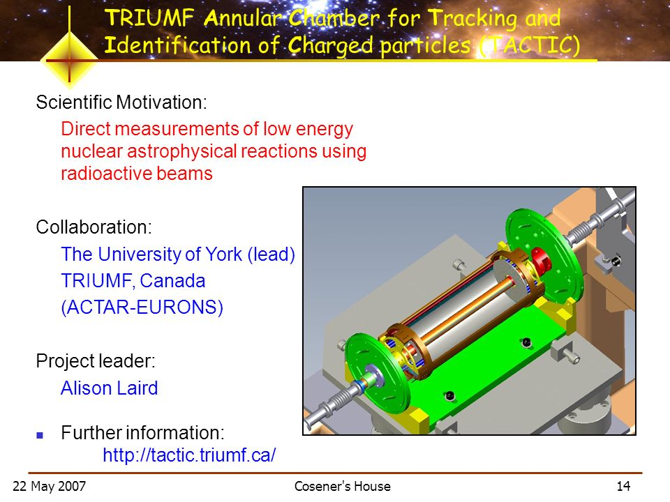 22 May 2007 Cosener s House 14 Scientific Motivation: Direct measurements of low energy nuclear astrophysical reactions using radioactive beams Collaboration: The University of York (lead) TRIUMF, Canada (ACTAR-EURONS) Project leader: Alison Laird Further information: http://tactic.triumf.ca/ TRIUMF Annular Chamber for Tracking and Identification of Charged particles (TACTIC)