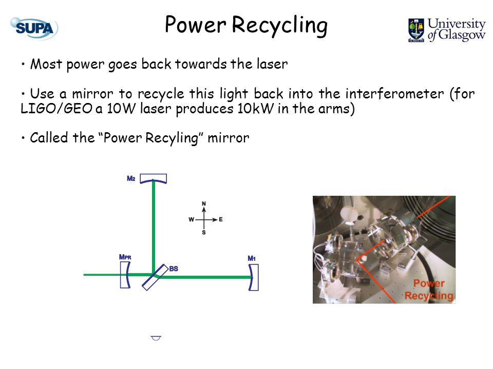 Power Recycling Most power goes back towards the laser Use a mirror to recycle this light back into the interferometer (for LIGO/GEO a 10W laser produces 10kW in the arms) Called the Power Recyling mirror