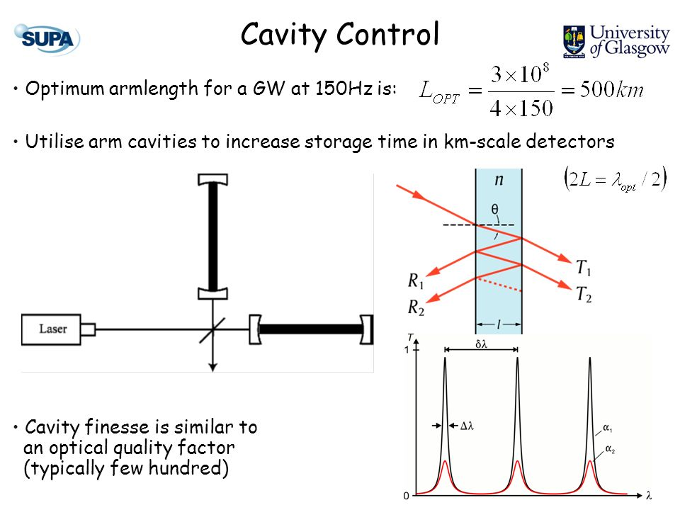 Cavity Control Optimum armlength for a GW at 150Hz is: Utilise arm cavities to increase storage time in km-scale detectors Cavity finesse is similar to an optical quality factor (typically few hundred)