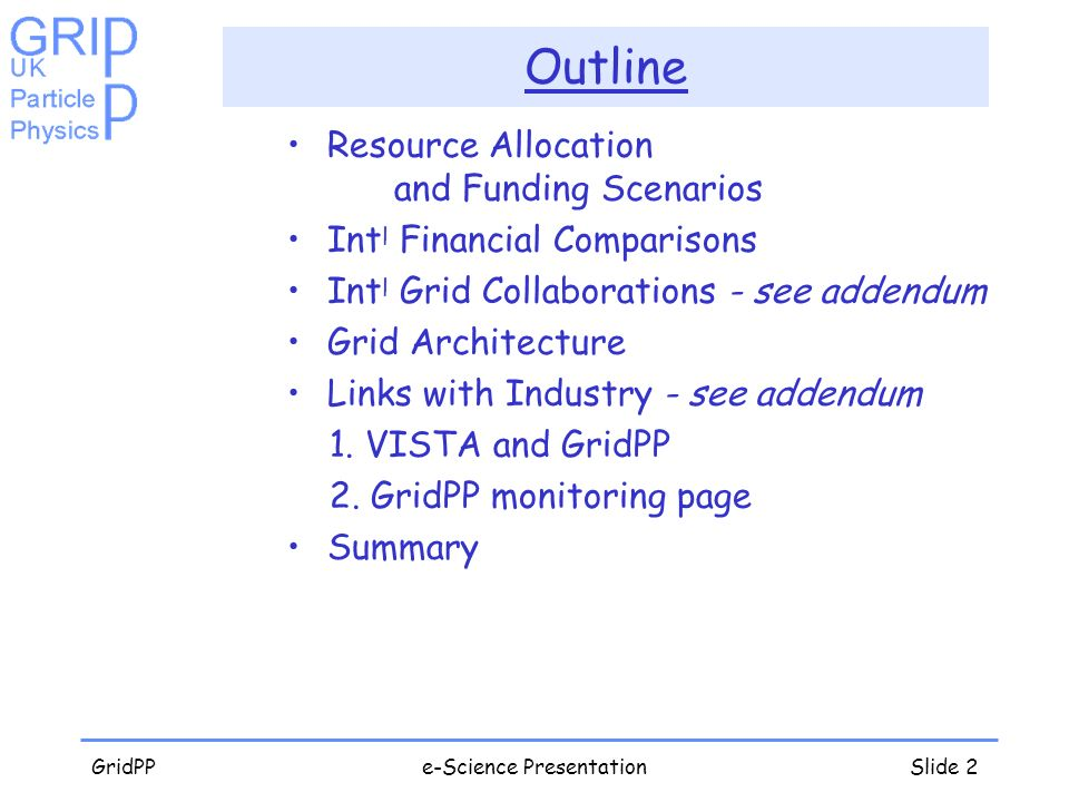 GridPPe-Science PresentationSlide 2 Outline Resource Allocation and Funding Scenarios Int l Financial Comparisons Int l Grid Collaborations - see addendum Grid Architecture Links with Industry - see addendum 1.