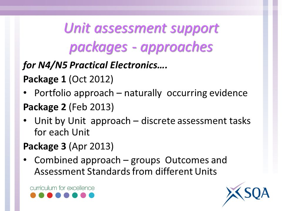 Unit assessment support packages - approaches for N4/N5 Practical Electronics….