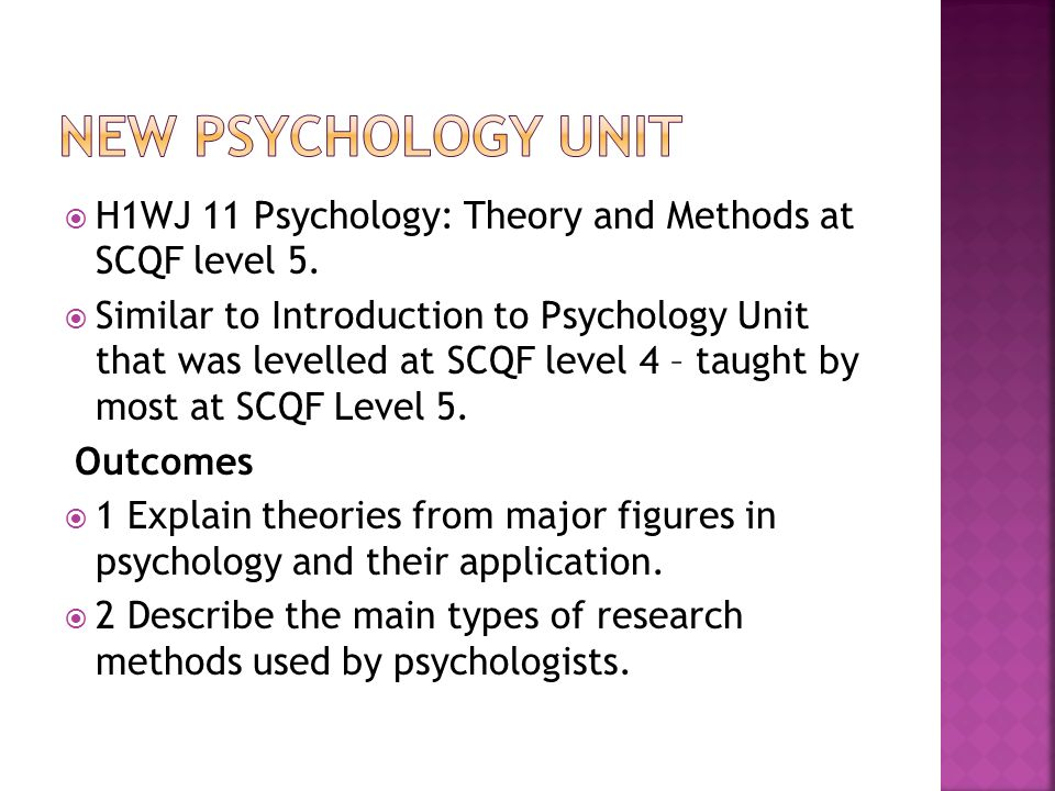 H1WJ 11 Psychology: Theory and Methods at SCQF level 5.