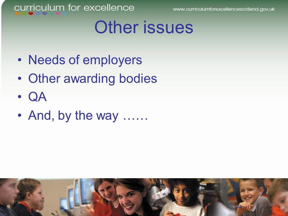 Other issues Needs of employers Other awarding bodies QA And, by the way ……