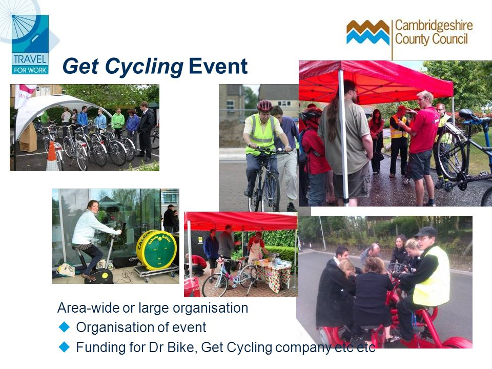 Get Cycling Event Area-wide or large organisation Organisation of event Funding for Dr Bike, Get Cycling company etc etc