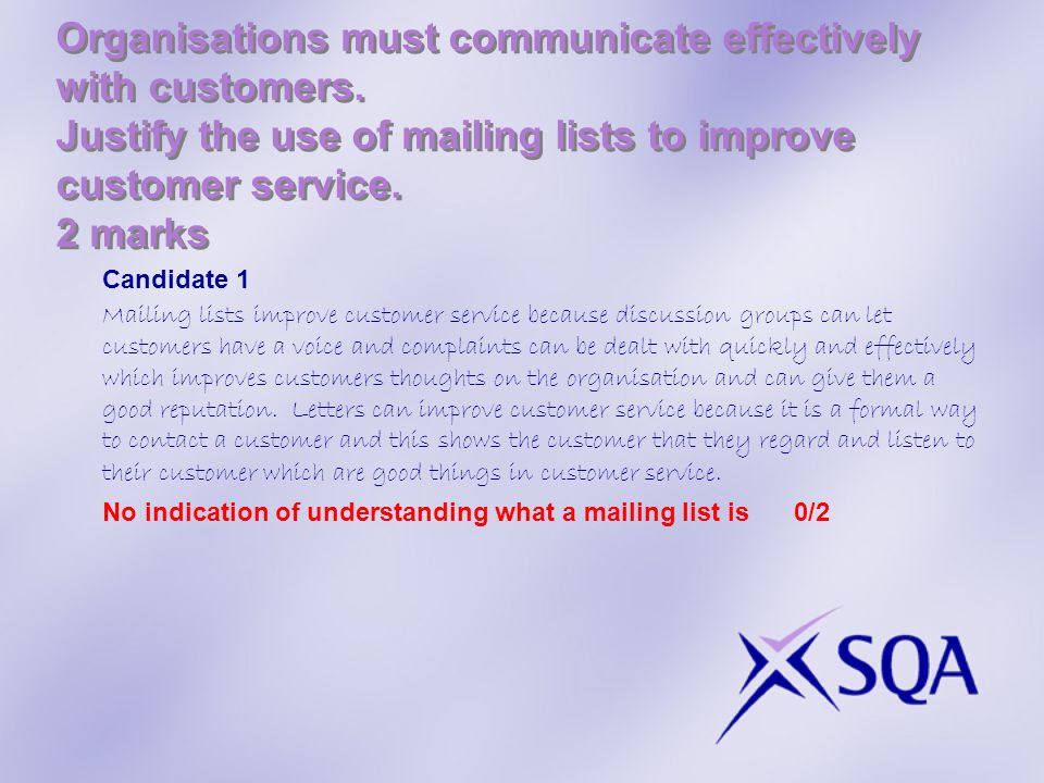 Organisations must communicate effectively with customers.