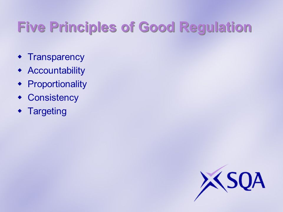 Five Principles of Good Regulation Transparency Accountability Proportionality Consistency Targeting