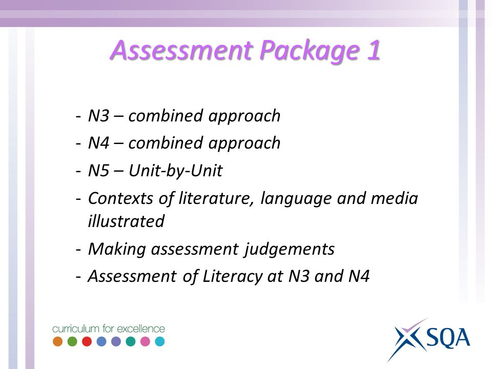Assessment Package 1 -N3 – combined approach -N4 – combined approach -N5 – Unit-by-Unit -Contexts of literature, language and media illustrated -Making assessment judgements -Assessment of Literacy at N3 and N4