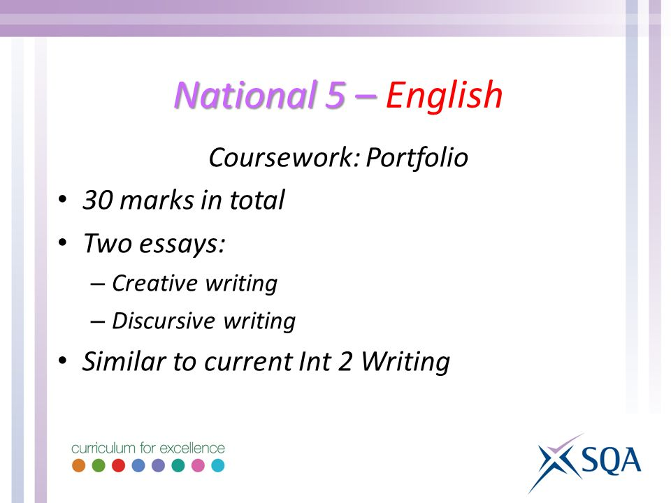 National 5 – National 5 – English Coursework: Portfolio 30 marks in total Two essays: – Creative writing – Discursive writing Similar to current Int 2 Writing