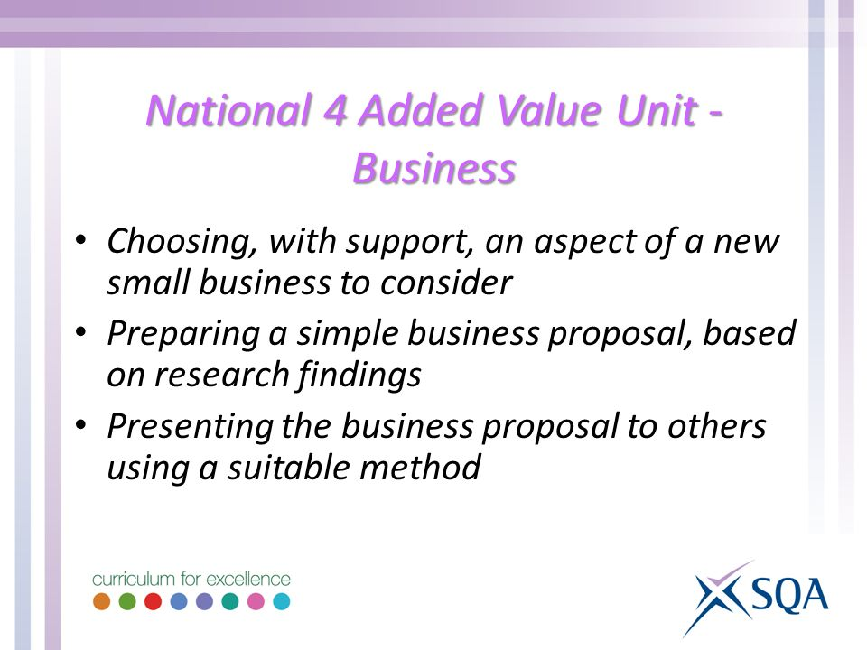 National 4 Added Value Unit - Business Choosing, with support, an aspect of a new small business to consider Preparing a simple business proposal, based on research findings Presenting the business proposal to others using a suitable method