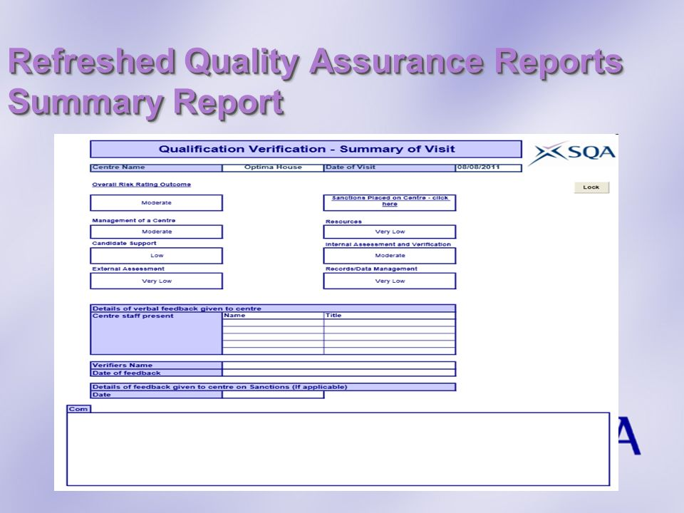 Refreshed Quality Assurance Reports Summary Report