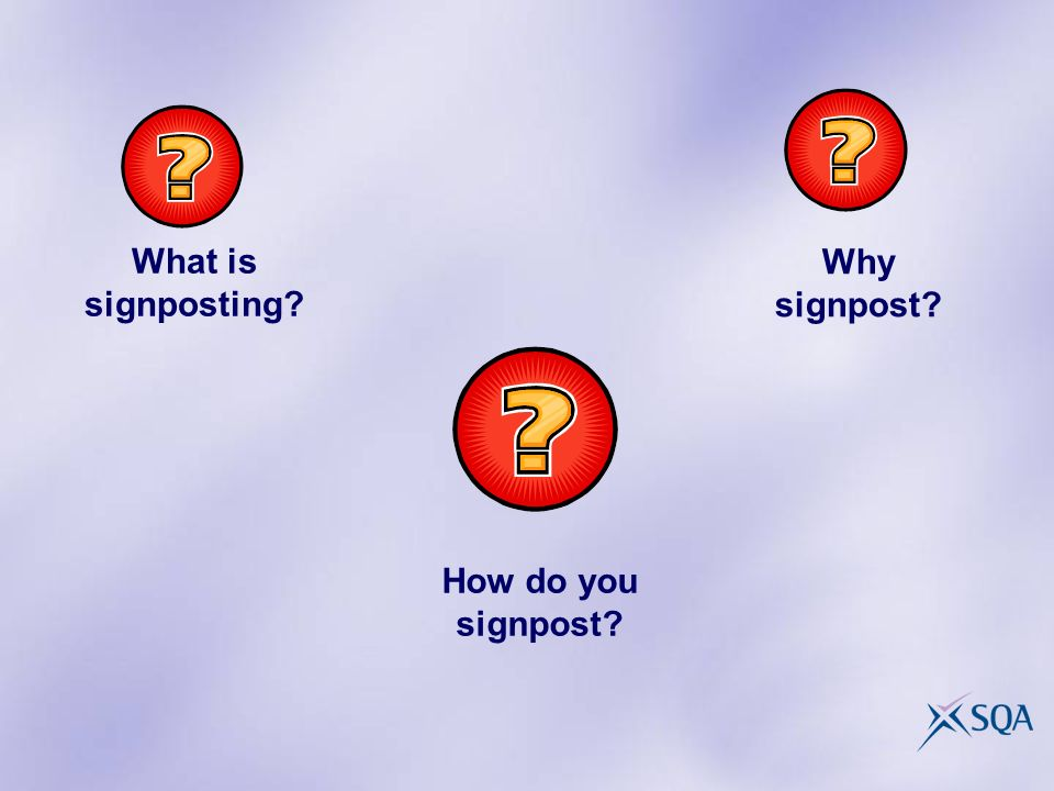Why signpost What is signposting How do you signpost