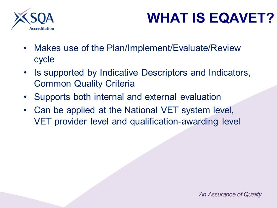 WHAT IS EQAVET.