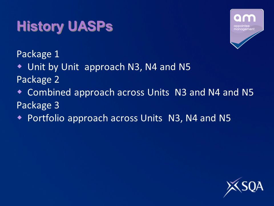 History UASPs Package 1 Unit by Unit approach N3, N4 and N5 Package 2 Combined approach across Units N3 and N4 and N5 Package 3 Portfolio approach across Units N3, N4 and N5