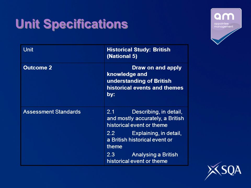 Unit Specifications UnitHistorical Study: British (National 5) Outcome 2Draw on and apply knowledge and understanding of British historical events and themes by: Assessment Standards2.1Describing, in detail, and mostly accurately, a British historical event or theme 2.2Explaining, in detail, a British historical event or theme 2.3Analysing a British historical event or theme