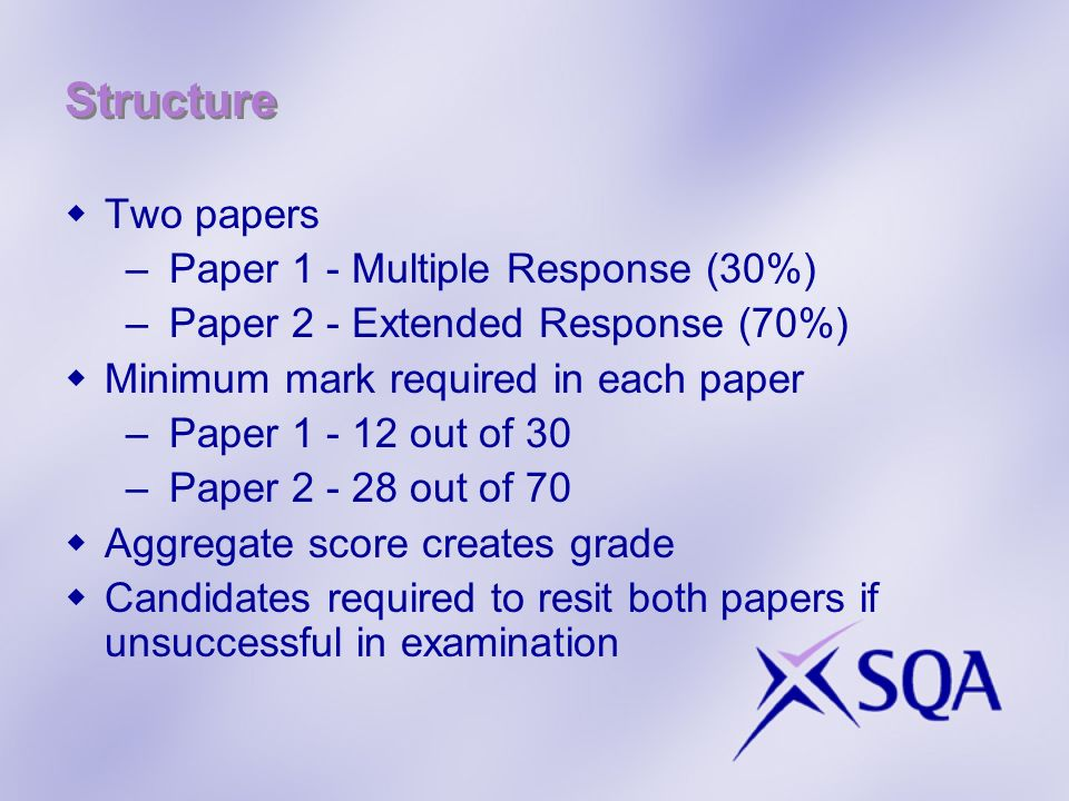 Structure Two papers –Paper 1 - Multiple Response (30%) –Paper 2 - Extended Response (70%) Minimum mark required in each paper –Paper 1 - 12 out of 30 –Paper 2 - 28 out of 70 Aggregate score creates grade Candidates required to resit both papers if unsuccessful in examination