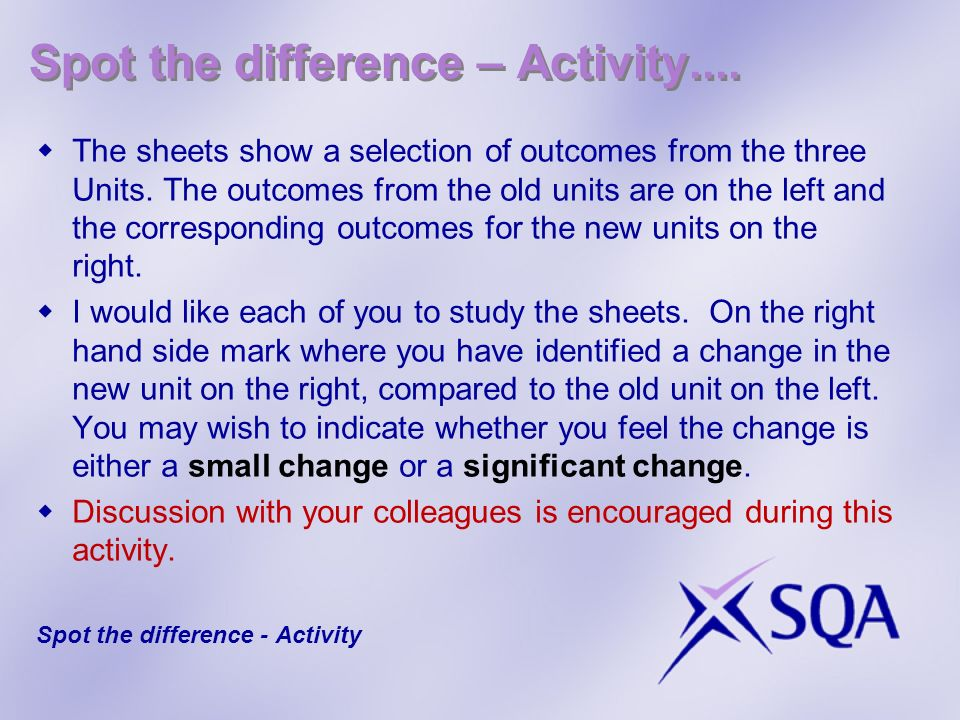 Spot the difference – Activity.... The sheets show a selection of outcomes from the three Units.