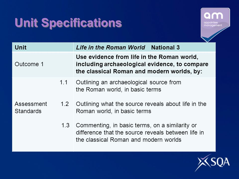 Unit Specifications UnitLife in the Roman World National 3 Outcome 1 Use evidence from life in the Roman world, including archaeological evidence, to compare the classical Roman and modern worlds, by: 1.1 Assessment 1.2 Standards 1.3 Outlining an archaeological source from the Roman world, in basic terms Outlining what the source reveals about life in the Roman world, in basic terms Commenting, in basic terms, on a similarity or difference that the source reveals between life in the classical Roman and modern worlds