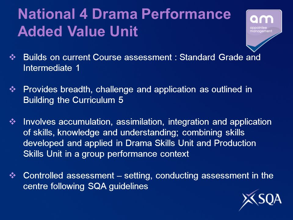 National 4 Drama Performance Added Value Unit Builds on current Course assessment : Standard Grade and Intermediate 1 Provides breadth, challenge and application as outlined in Building the Curriculum 5 Involves accumulation, assimilation, integration and application of skills, knowledge and understanding; combining skills developed and applied in Drama Skills Unit and Production Skills Unit in a group performance context Controlled assessment – setting, conducting assessment in the centre following SQA guidelines