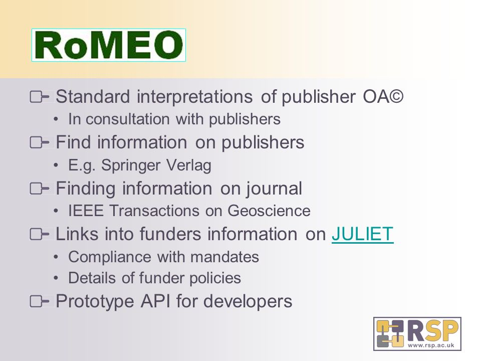 Standard interpretations of publisher OA© In consultation with publishers Find information on publishers E.g.
