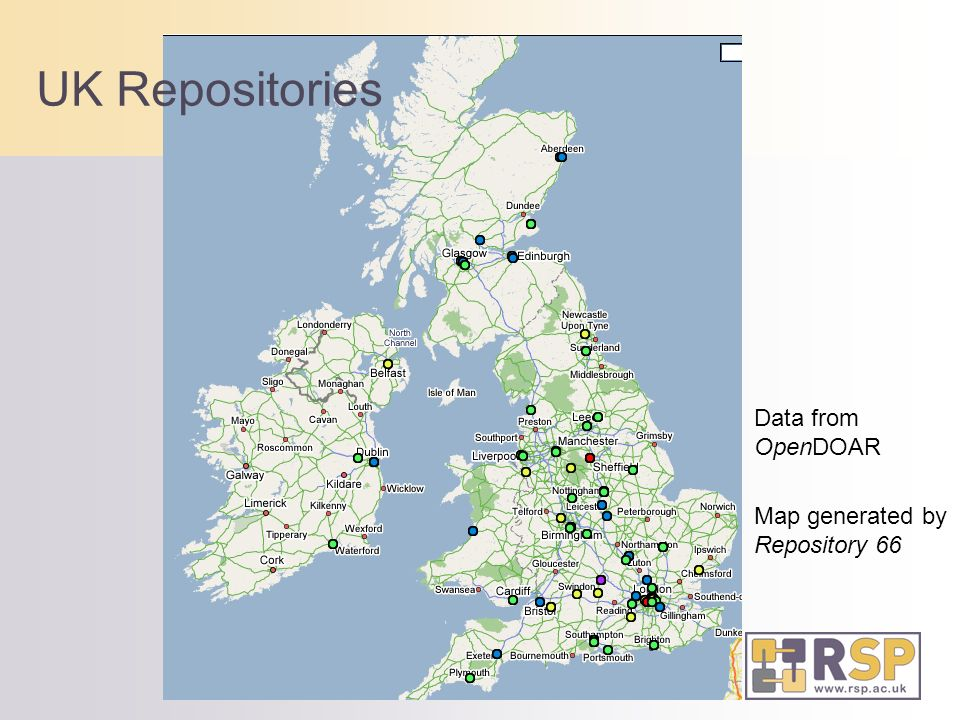 UK Repositories Data from OpenDOAR Map generated by Repository 66