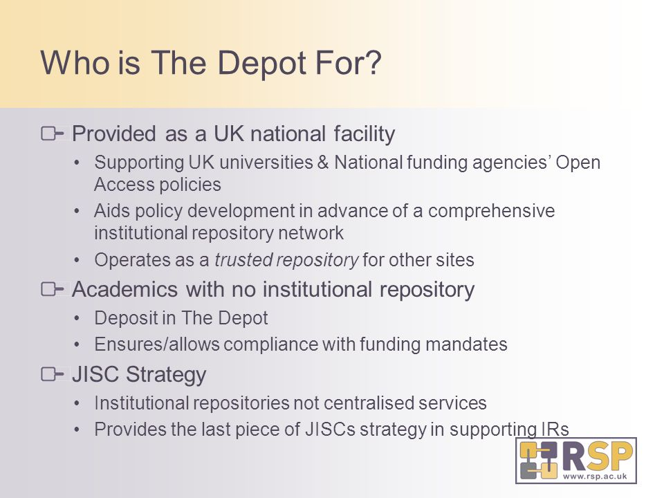 Who is The Depot For.