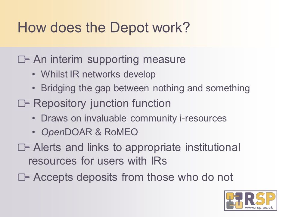 How does the Depot work.